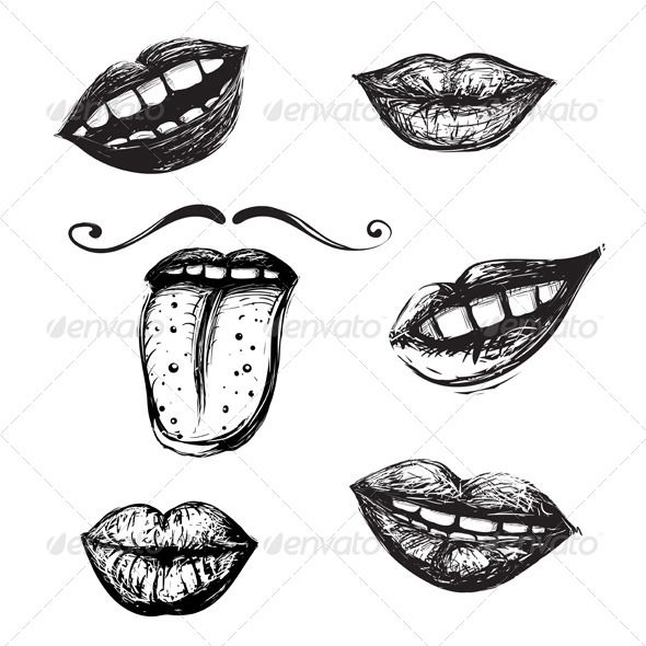 smile and mouth drawing collection fonts logos icons pinterest