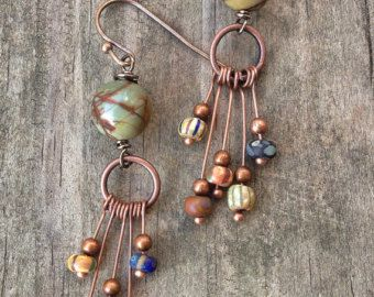 Natural Turquoise Swirl Dangle  Beaded Turquoise Earrings  Hammered Copper Earrings