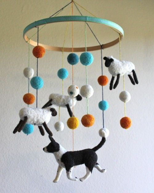 Border Collie herding sheep - felt baby mobile by selena