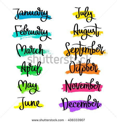 Set of labels of the months of the year. Fashionable ...