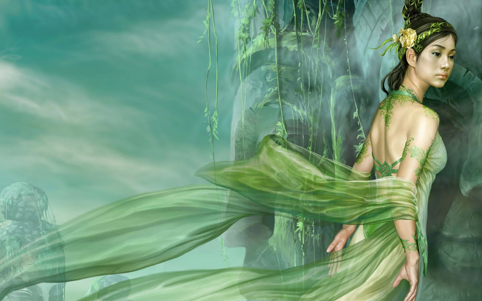 green angels | Fantasy Women Green Angels X Wallpaper with 1600x1000 Resolution