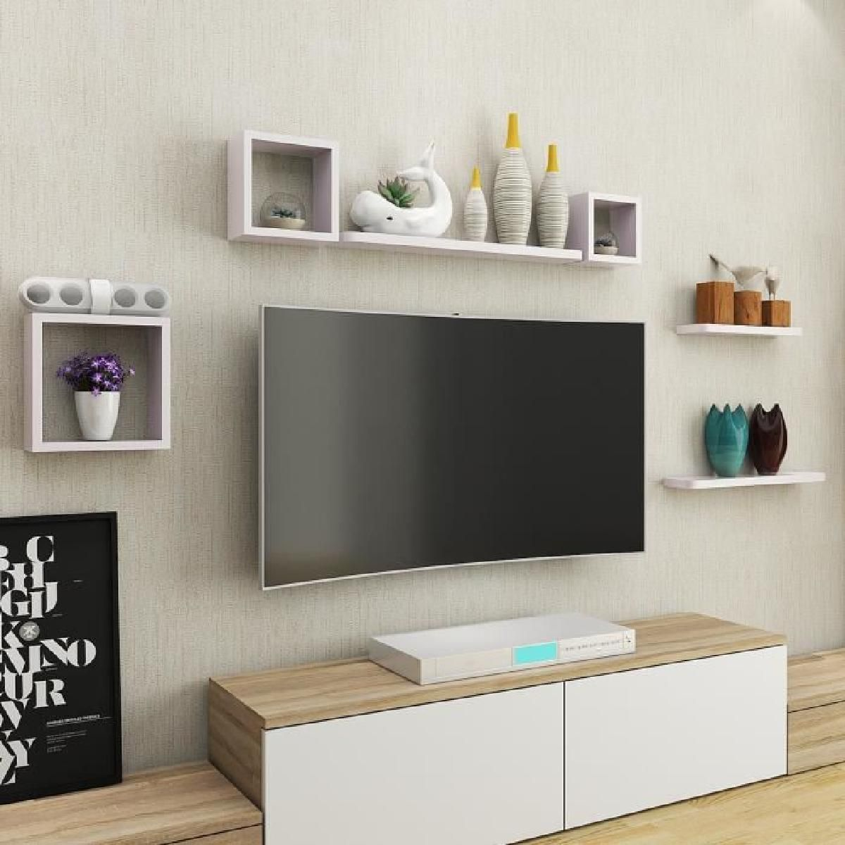 Beau Etagere Murale Salon Mounted Shelves Tv Room Design Wall Mounted Shelves