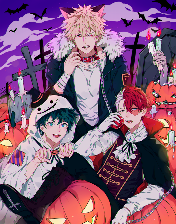 Characters Midoriya Izuku Katsuki Bakugou Todoroki Shouto Halloween Hero My Hero Anime Halloween