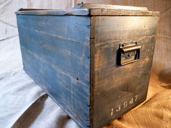 RESERVED FOR HELEN Large Military Box, Industrial Storage, Vintage Wooden  Box, Military Storage Chest. World War 2, Military Trunk