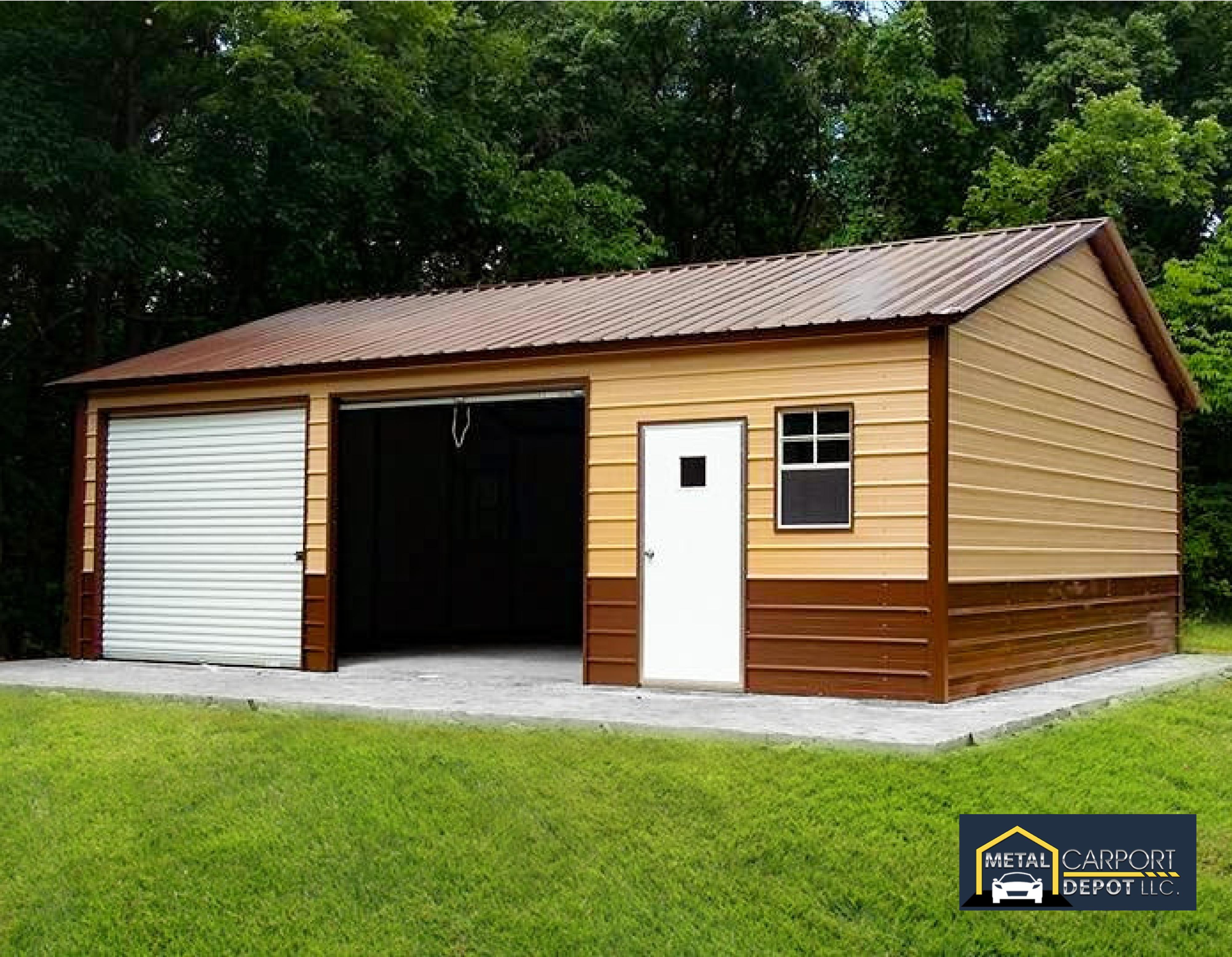 24 X 30 Metal Side Entry Garage In 2020 Carport Designs Barn House Plans Garage Workshop Plans