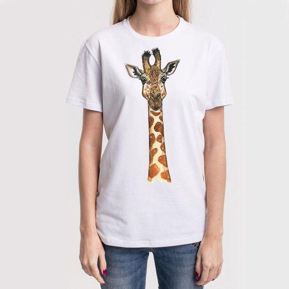 0079d0e7 Unisex Giraffe T shirt, Giraffe Watercolor Tee, Gift Giraffe Print Shirt, Giraffe  Clothing, Animal P