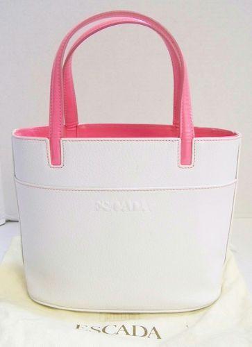 ESCADA White Pink Leather Small Tote Bag Italy | eBay