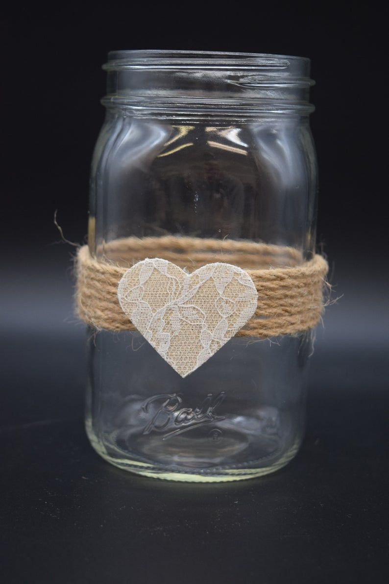 Rustic Mason Jars, Lace and Twine, Mason Jar Decor, Rustic Wedding Decor, Mason Jar Gifts, Rustic Wedding Centerpieces, Home Decor