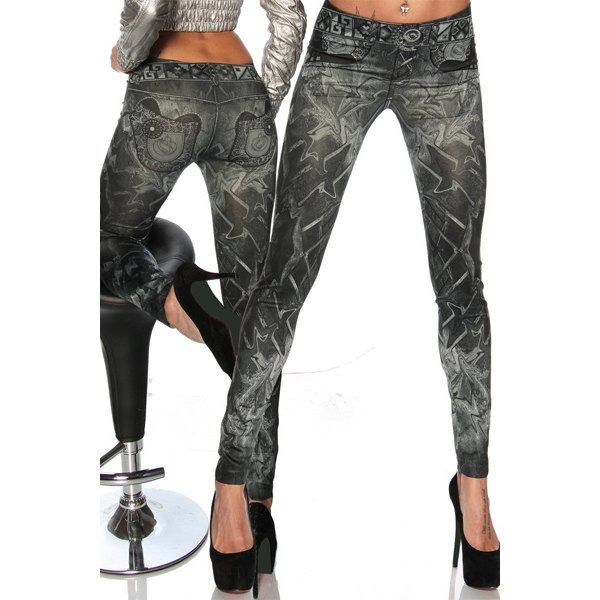Casual Slimming Mid-Waisted Tattoo Graffiti Print Jean Leggings For Women