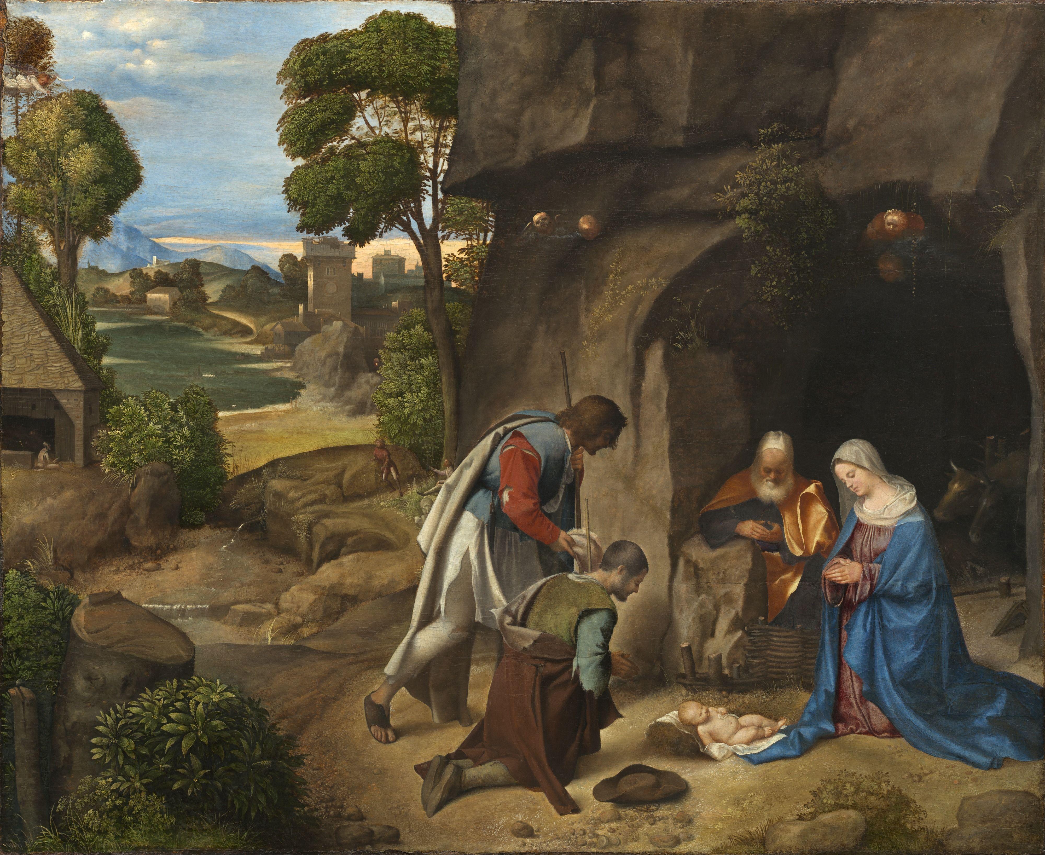 Giorgione, Adorazione dei pastori, ca 1500-1505. Olio su tavola. Washington, National Gallery.