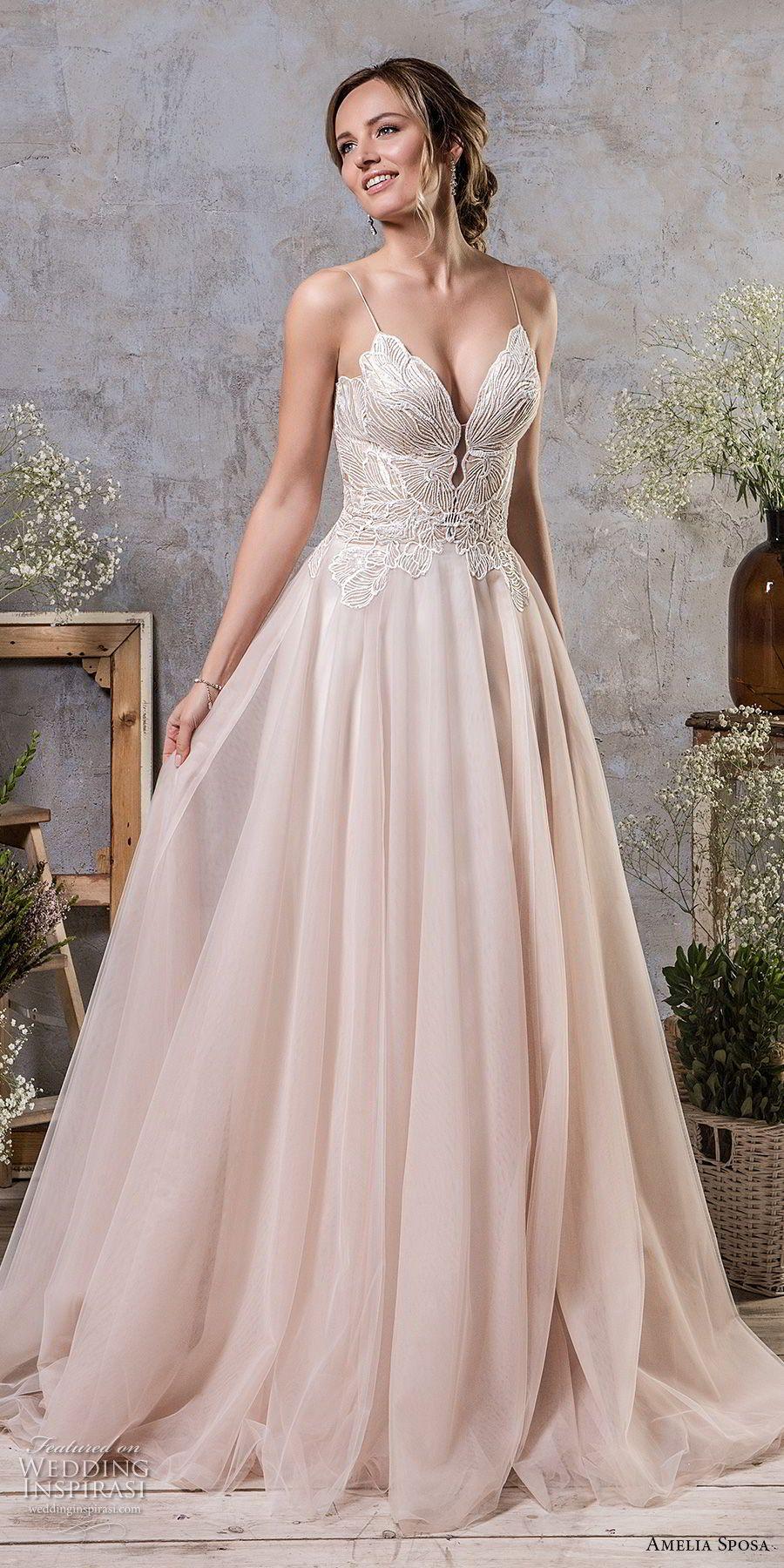 Amelia Sposa Fall 2018 Bridal Spaghetti Strap Deep Sweetheart Neckline Heavily Embellished Bodice Blush A Line Wedding Dress Corset Back Chapel