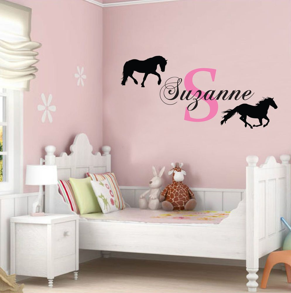 Elegant PERSONALISED NAME AND HORSES WALL STICKER CHILDREN S BEDROOM CONTEMPORARY  DECAL