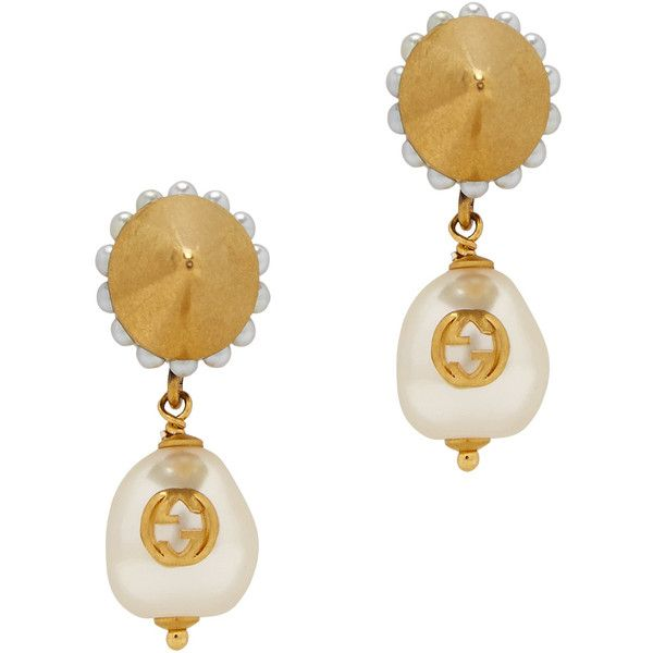Gucci Faux Pearl Embellished Earrings 1 755 Sar Liked On Polyvore Featuring Jewelry Fake Stud Earring