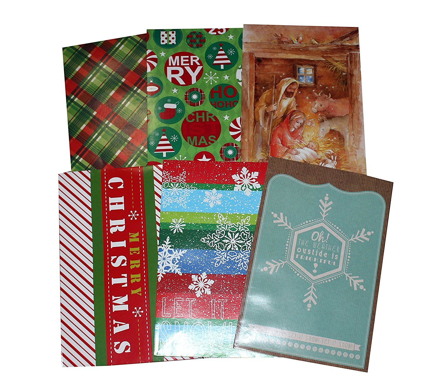 6pk Decorated Christmas Gift Boxes w/ Tissue Paper, Sized