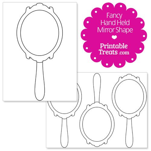 mirror coloring pages for kids. printable fancy hand mirror shape template coloring pages for kids