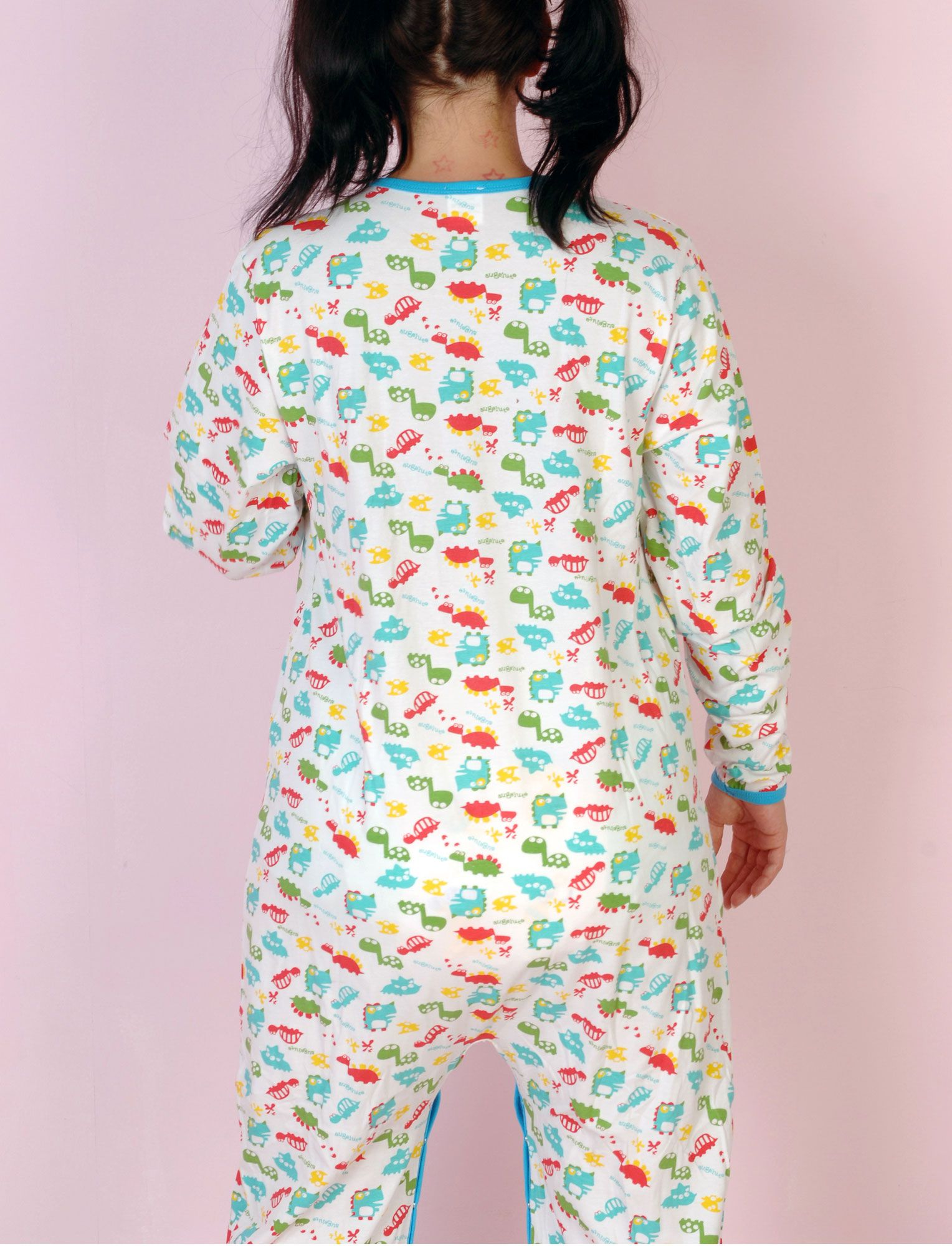 554881121 Cuddlz Dinosaur Pattern Adult Full Length Footed Sleepsuit Onesie with long  sleeves in a soft cotton with a stretch. This full length bodysuit is in a  ...