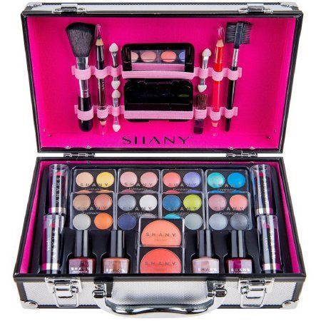 Photo of SHANY Carry All Makeup Train Case with Pro Makeup and Reusable Aluminum Case – Silver – Walmart.com