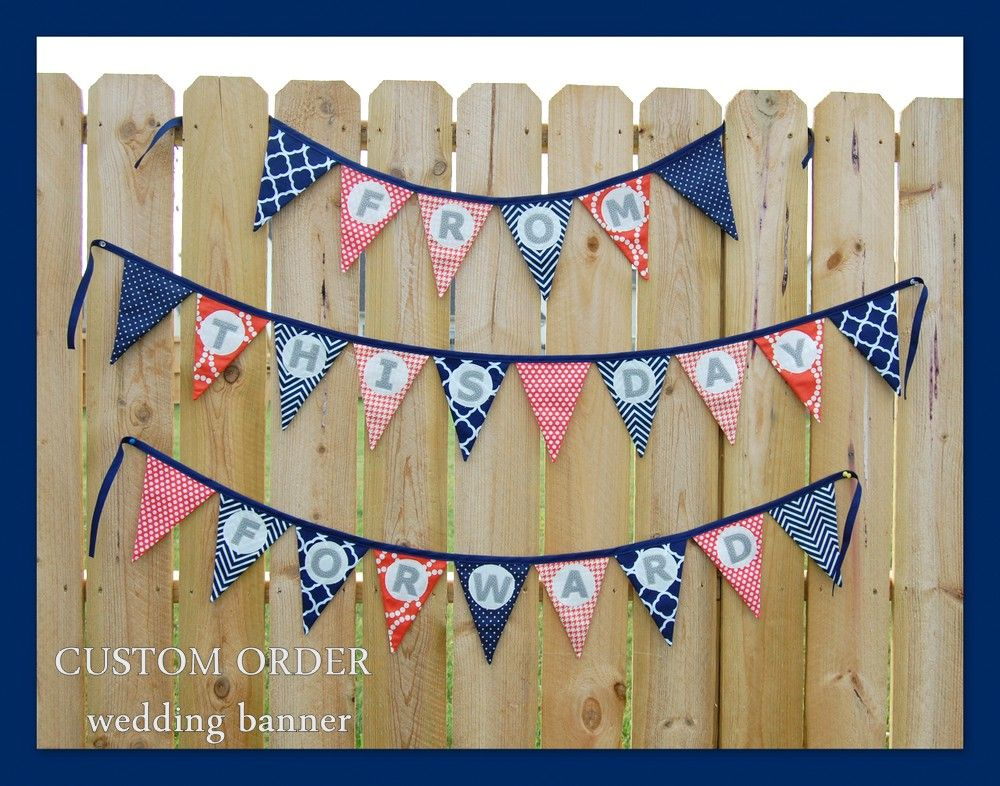 """Navy, coral, gray """"From This Day Forward"""" Wedding banner set.  www.averysews.etsy.com"""