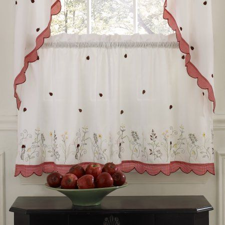 Embroidered Ladybug Meadow Kitchen Curtains 24 Inch 36 Inch Tier