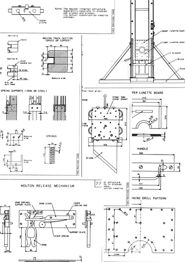 1872 Guillotine Drawings Machinery Drawings Boy Cards