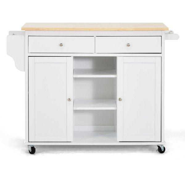 Baxton Studio Meryland White Modern Kitchen Island Cart ($242 ...