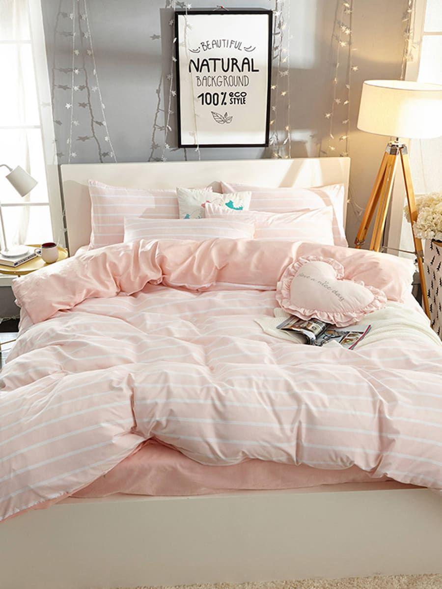 967e77b563 Striped Print Sheet Set -SheIn(Sheinside) | bedroom stuff in 2019 ...