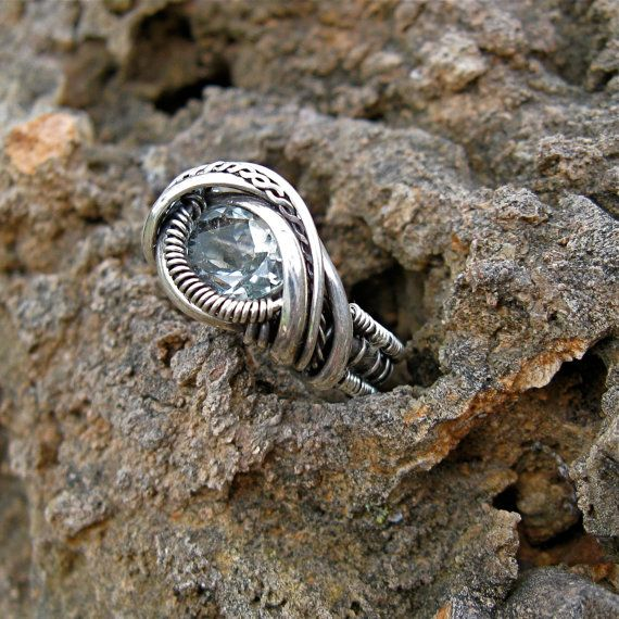 Sterling Silver wire wrapped Blue Topaz ring by MineralSynergy, $200.00