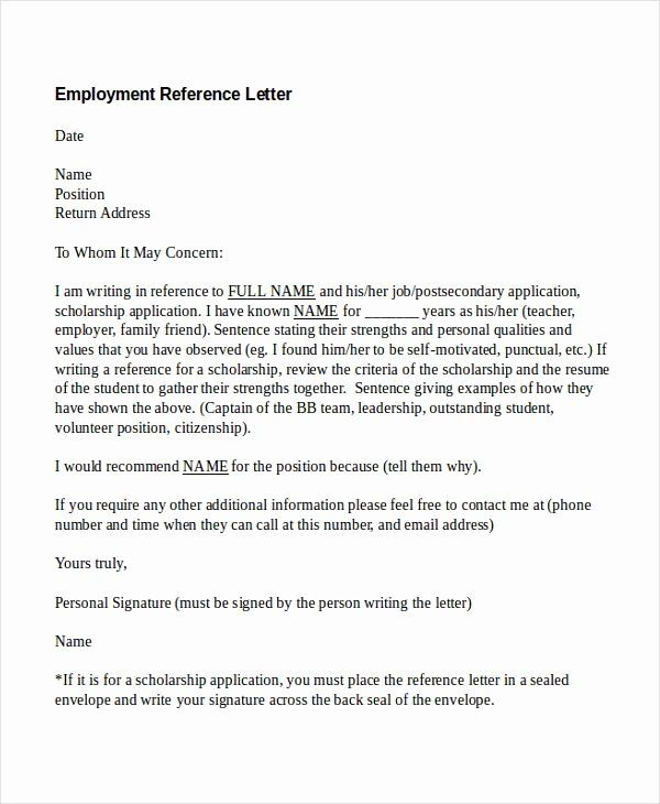 28 Reference Letter Template Free In 2020 Employment