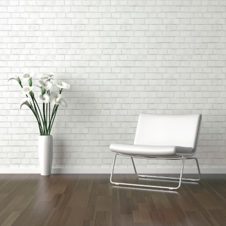 Devine Color Textured Brick Peel & Stick Wallpaper White