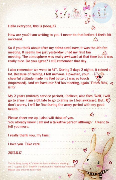 Song Joong Ki  Wrote A Letter To His Fans And Read It During