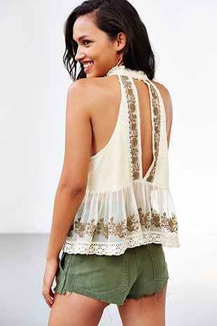 Kimchi Blue Camille High-Neck Lace Tank Top - Urban Outfitters