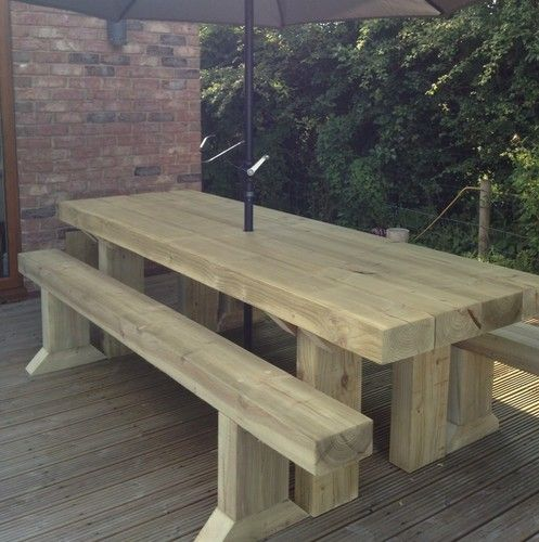 Solid Wooden Sleeper Outside Or Inside Table And Chairs Garden Furniture Wooden Outdoor Table Outdoor Wood Table Wooden Garden Table
