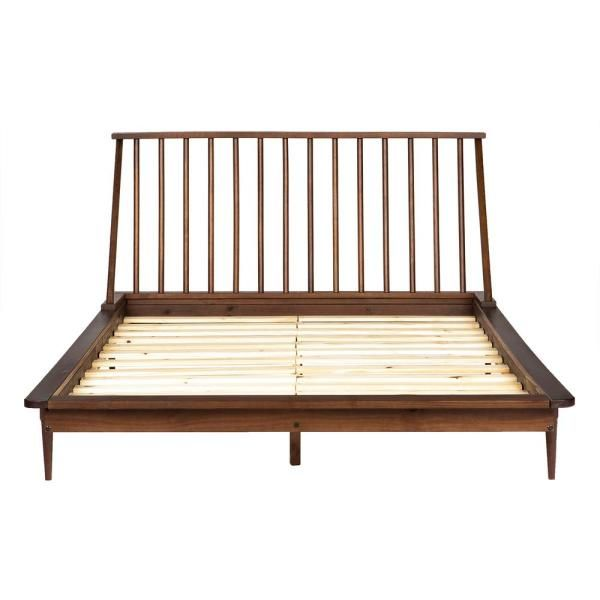 Walker Edison Furniture Company Solid Wood Modern Walnut Queen Spindle Bed Brown Spindle Bed Modern Wood Bed Solid Wood Bed Frame