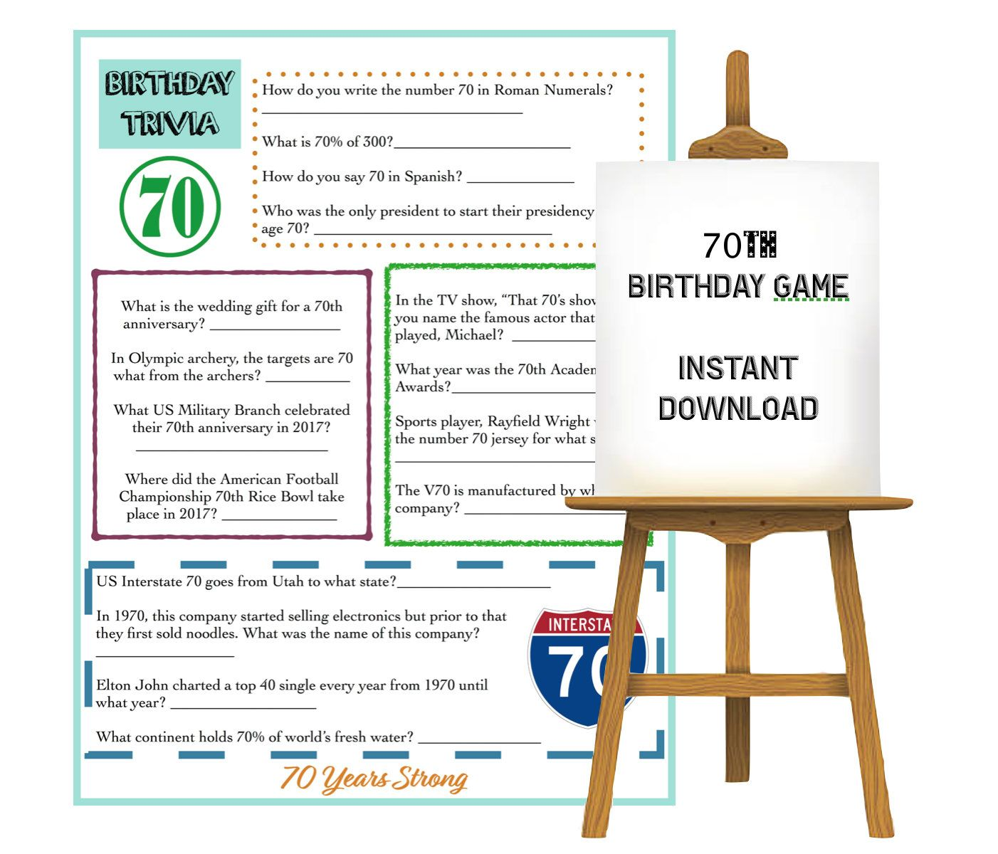 70th Birthday Trivia Game Instant Download Everything