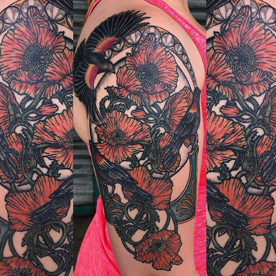 Poppy Half Sleeve Tattoo: Another Series Of My Half Sleeve Tattoo With Redwing