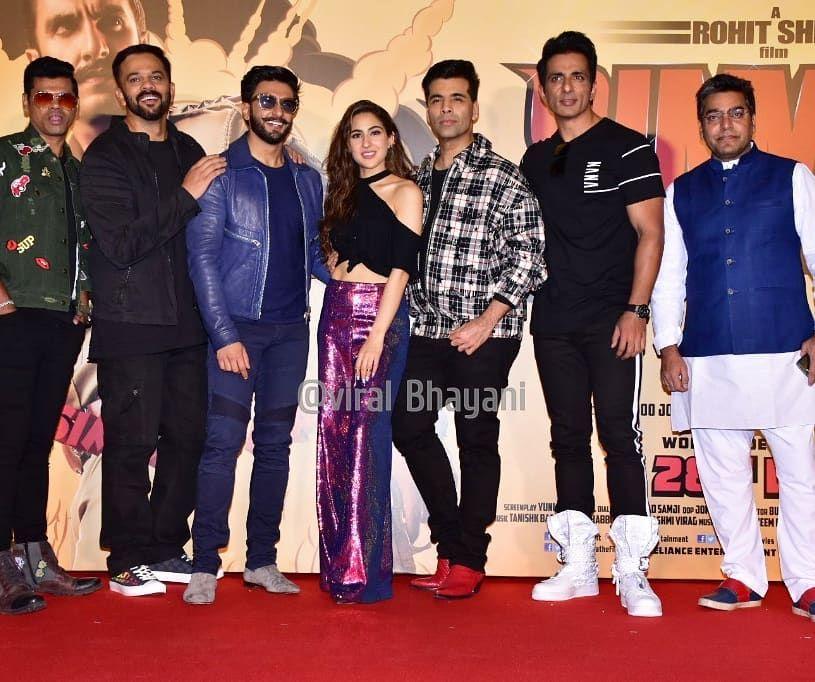 The Entire Cast Of Simba Rohitshetty Ranveersingh Saraalikhan Karanjohar Sonusood Ashutoshrana Bollywood Celebrities Sara Ali Khan Karan Johar