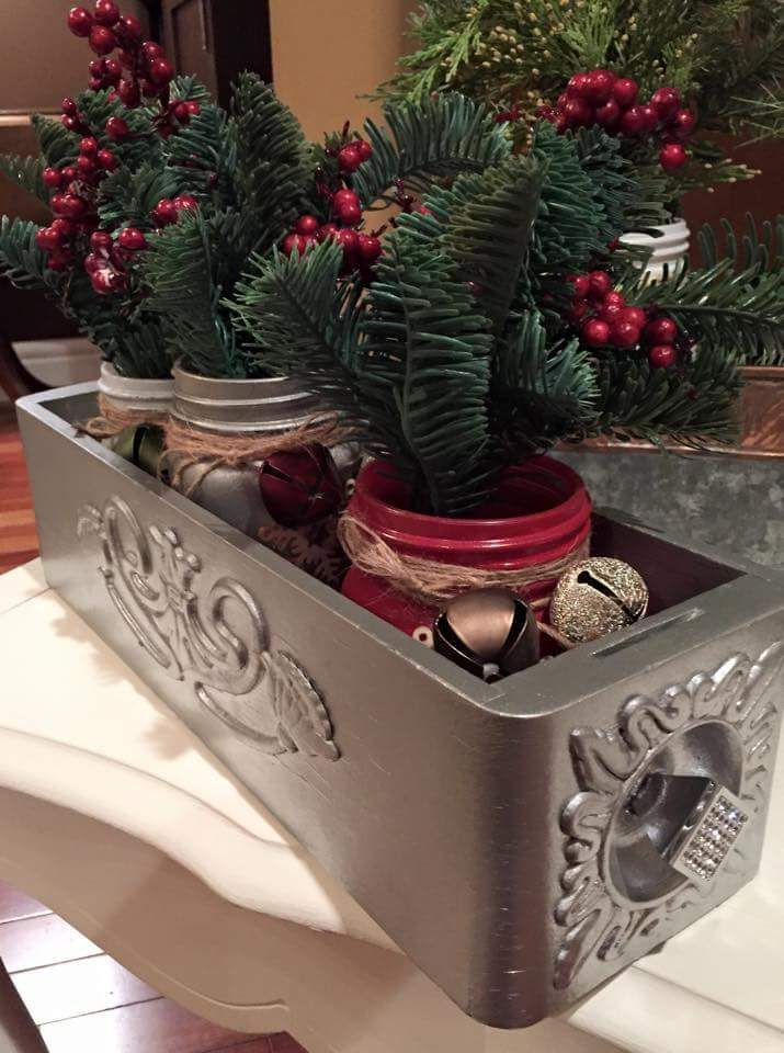 sewing machine drawers with mason jars make for a beautiful christmas centrepieces the decor vault wwwfacebookcomthedecorvault - Christmas Decorations To Make With Sewing Machine