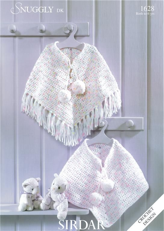 Sirdar PONCHO in DK, Child Baby Crochet pattern 1628