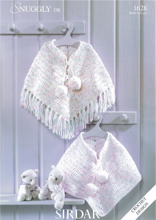 Sirdar Poncho In Dk Child Baby Crochet Pattern 1628 Ponchos