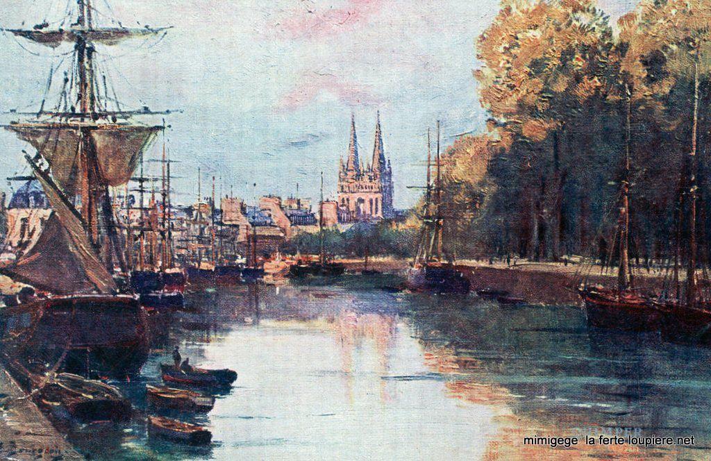 """""""Le Port de Quimper"""", by Eugène Bourgeois, end of 19th century"""