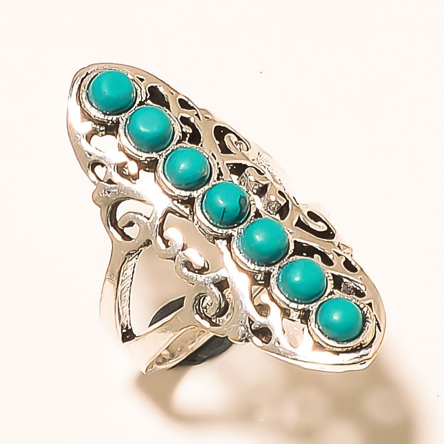 Free Shipping Awesome Tibetan Turquoise .925 Silver Jewelry Ring Size 6.50''