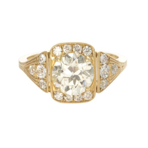 Stingle Stone Old European Cut Yellow Gold Diamond Ring - Over the Moon