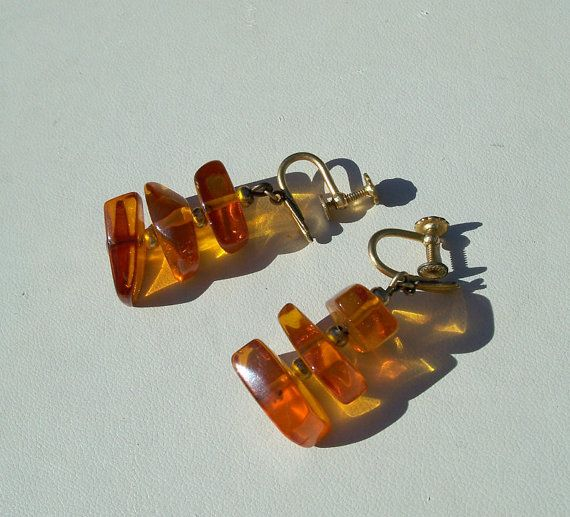 Vintage Genuine Amber Chunk Earrings Deco Gold by Oldtreasuretrunk, $32.00