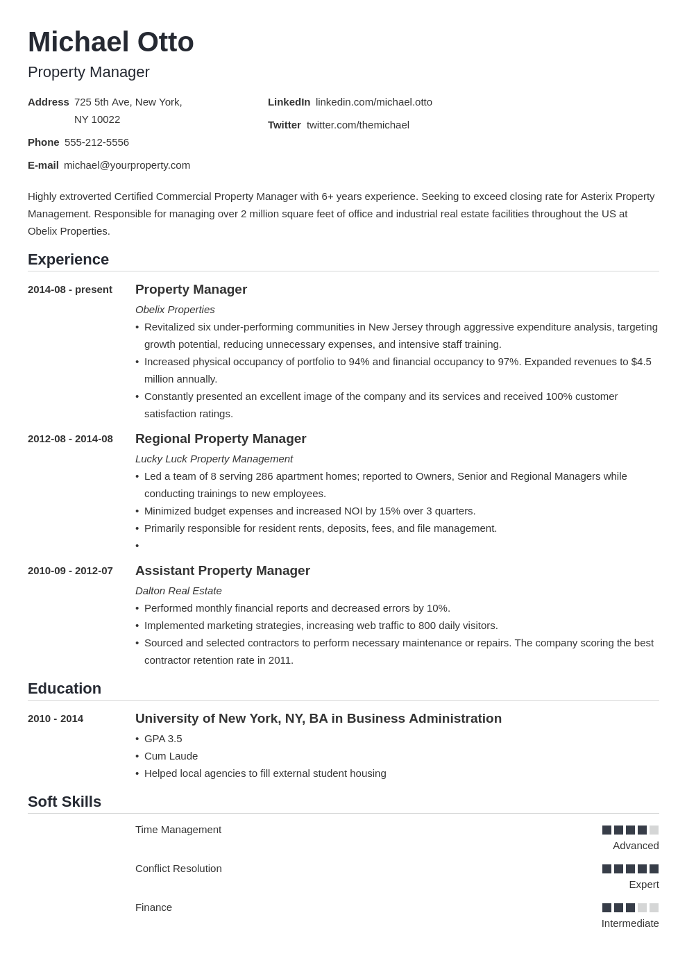 property manager resume example template nanica in 2020