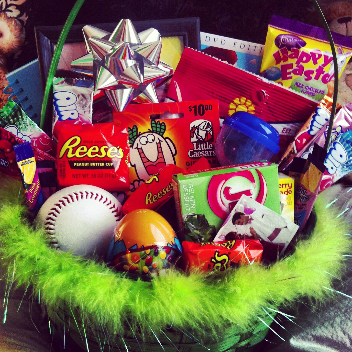 My boys easter basket im the best girlfriend ever yummy my boys easter basket im the best girlfriend negle Choice Image