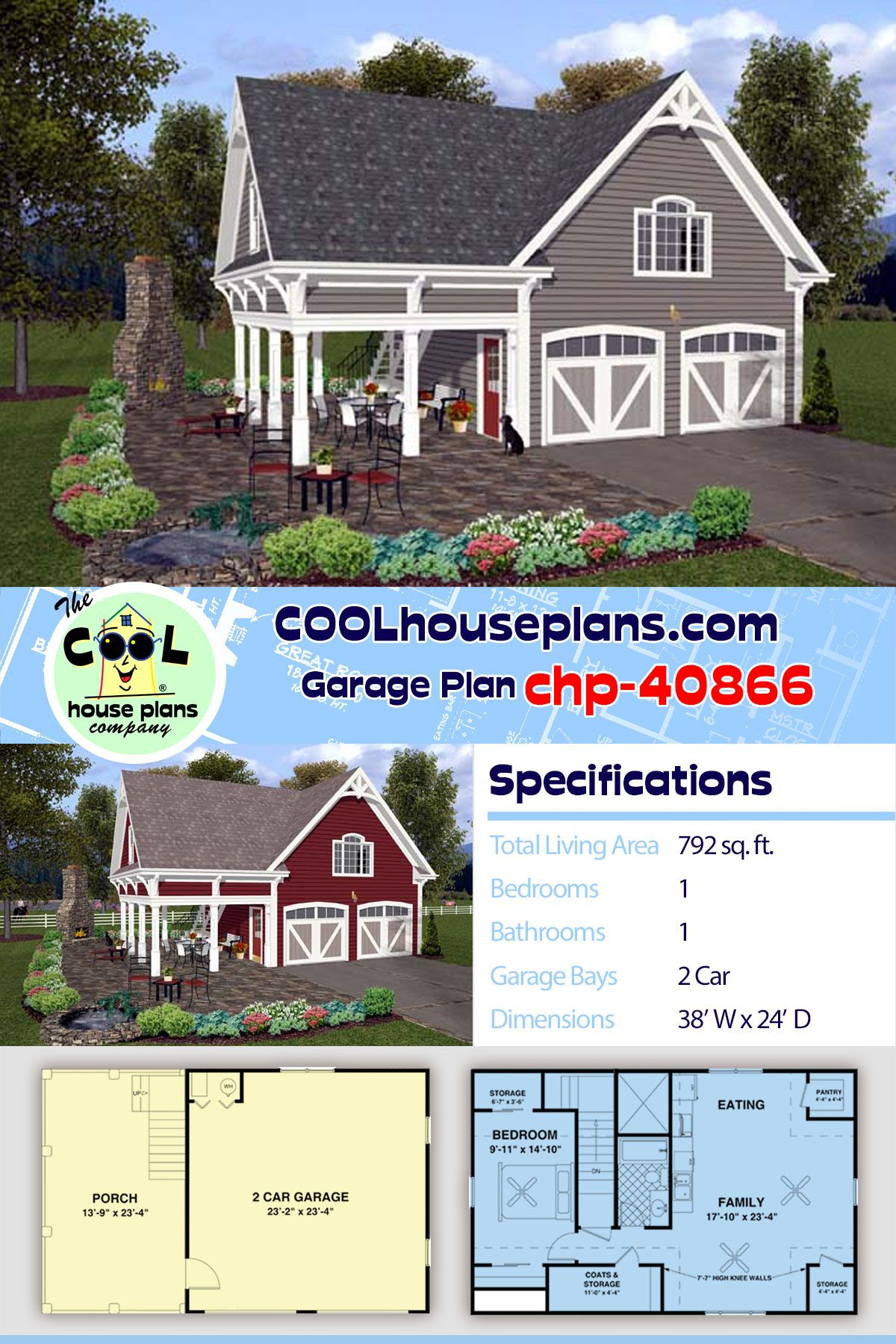 Traditional Style 2 Car Garage Apartment Plan Number 74803 With 1 Bed 1 Bath Carriage House Plans Carriage House Plans Garage Apartments Pole Barn House Plans