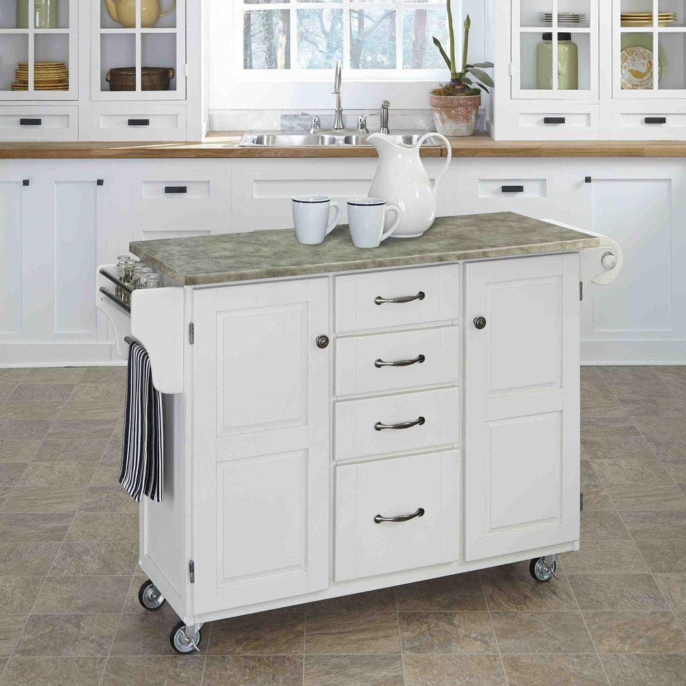 Homestyles Create A Cart White Kitchen Cart With Concrete Top