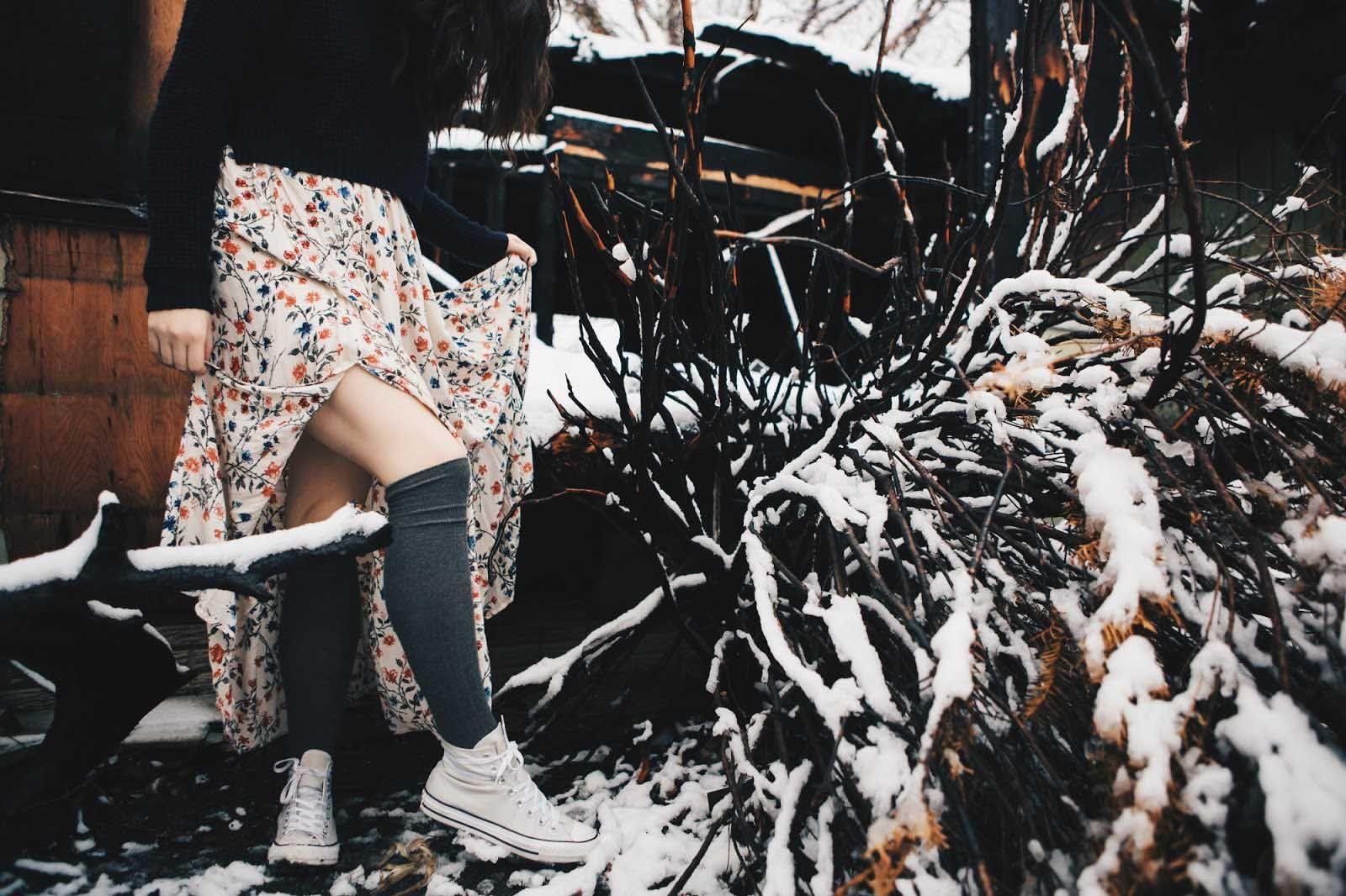 winter fashion & snow & maxi skirt & fashion photography & converse & thigh high socks