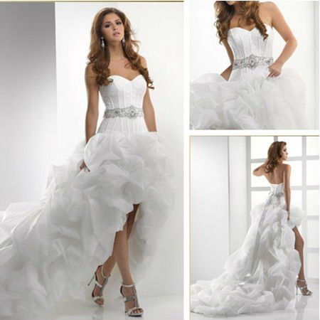 Chic Short Wedding Dresses With Long Trains