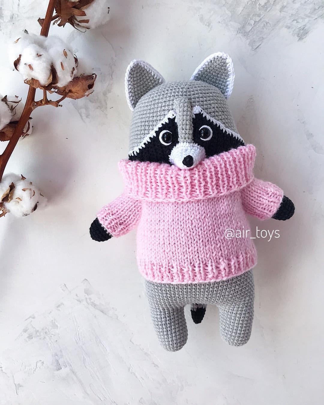 вязаный енот крючком енотик еноты raccoon crochet ...